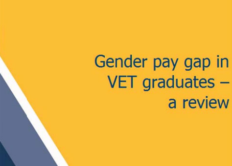 Text on a yellow, grey and white background that says: ender pay gap in VET graduates - a review