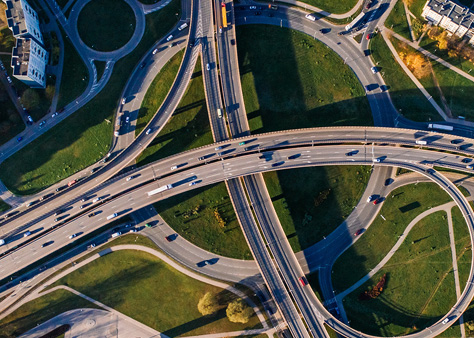 An aerial shot of a highway